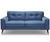 Kennedy blue 2 seater fabric sofa with wood legs