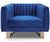 Rupert blue velvet single chair with stainless steel legs