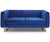 Thomas Luxury gold metal and blue velvet 2 seater sofa