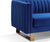 Thomas Luxury gold metal and velvet blue sofa close up