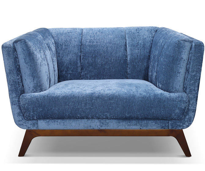 Edward blue velvet single chair with solid wood base