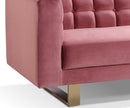 Gabriel pink velvet 2 seater sofa with stainless steel base