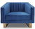 Jack blue velvet single chair with stainless steel leg