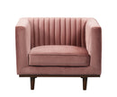 Isambard pink velvet single chair with wood base