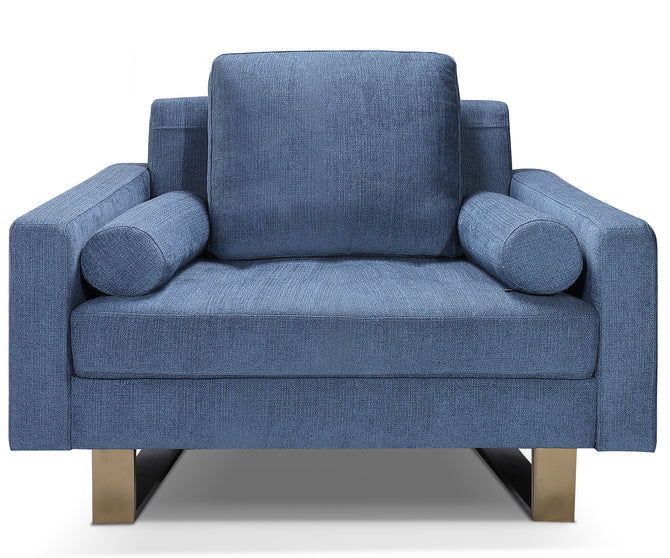 Louise blue fabric single chair with stainless steel legs