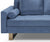 Lucas blue 2 seater fabric sofa with stainless steel legs