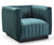 Reggie green velvet single chair with black metal base