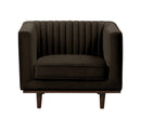 Issac brown velvet single chair with wood base