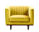 Isambard mustard yellow velvet single chair with wood base