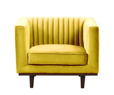 Issac mustard yellow velvet single chair with wood base