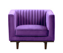 Isambard purple velvet single chair with wood base