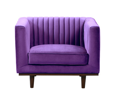 Issac purple velvet single chair with wood base