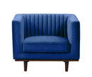 Isambard blue velvet single chair with wood base