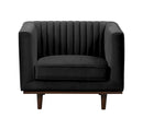 Isambard black velvet single chair with wood base
