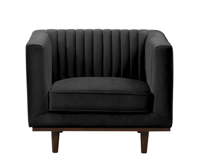 Issac black velvet single chair with wood base