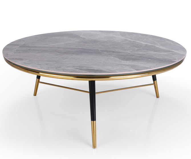 Apollo grey marble coffee table with stainless steel leg