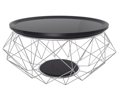 Blanche black coffee table solid gloss top stainless steel frame
