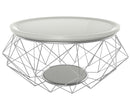 Blanche white coffee table solid gloss top stainless steel frame