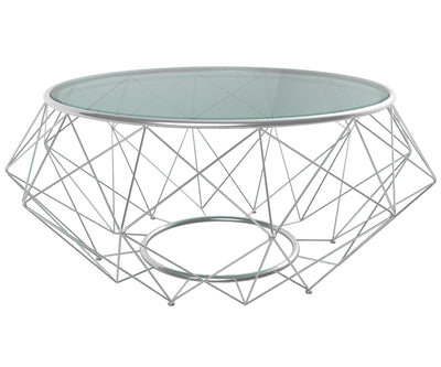 Blanche clear glass coffee table solid gloss top stainless steel frame