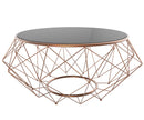 Blanche glass coffee table solid gloss top stainless steel frame