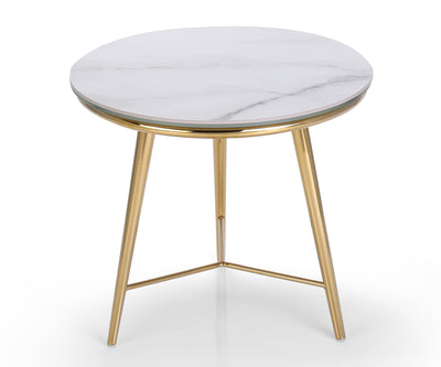 Cerberus white marble side table with stainless steel base