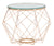 Czar side table clear glass with rose stainless steel frame