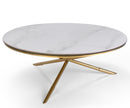 Demeteer white marble coffee table with stainless steel base
