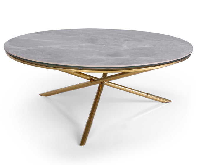 Demeteer grey marble coffee table with stainless steel base