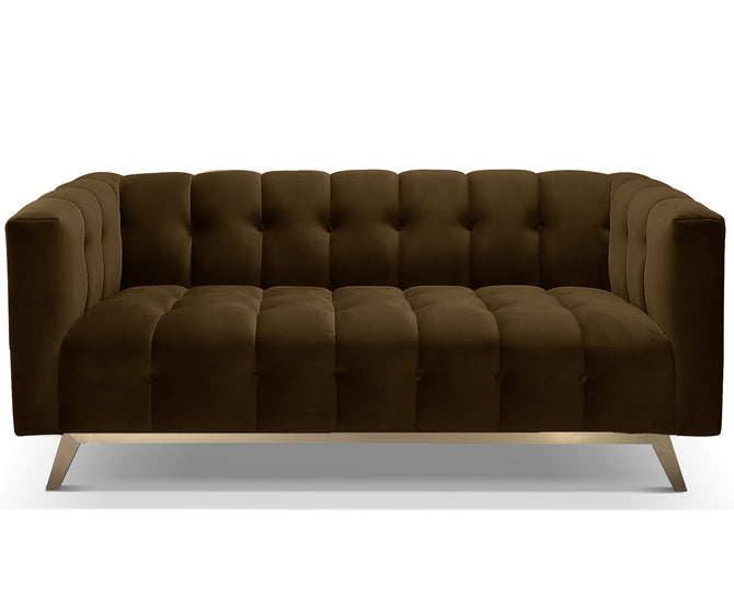 Dexter brown velvet 2 seater sofa with stainless steel base