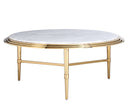 Figgy marble top effect coffee table with stainless steel legs