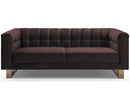 Gabriel brown velvet 2 seater sofa with stainless steel base