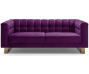 Gabriel purple velvet 2 seater sofa with stainless steel base
