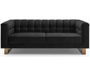 Gabriel black velvet 2 seater sofa with stainless steel base