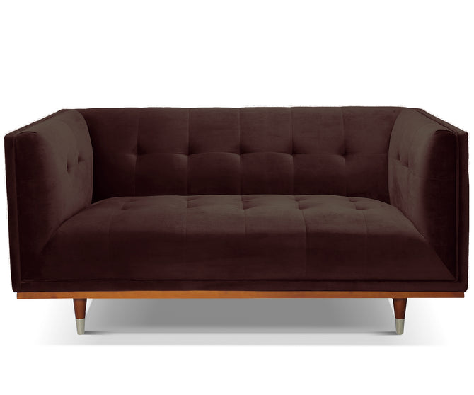 Henry brown velvet 2 seater sofa with rubber wood legs