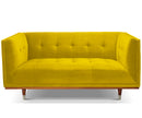 Henry mustard yellow velvet 2 seater sofa with rubber wood legs