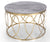 Hera marble effect coffee table with stainless steel frame