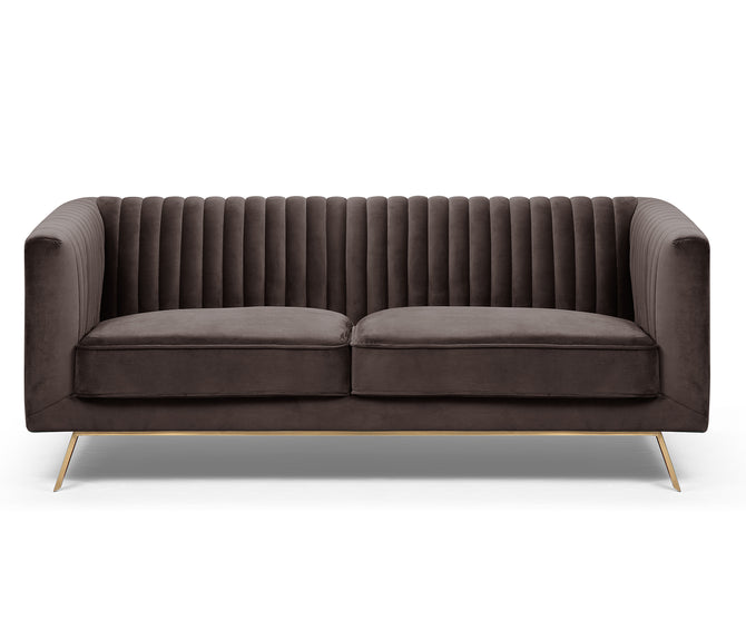 Lily brown velvet 2 seater sofa with stainless steel legs