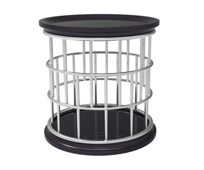 Lark black side table with stainless steel frame