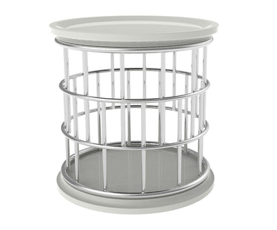 Lark white side table with stainless steel frame