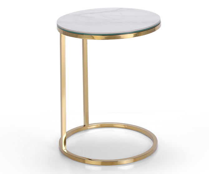 Medusa marble effect side table with stainless steel base