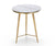 Metis marble effect side table with stainless steel legs