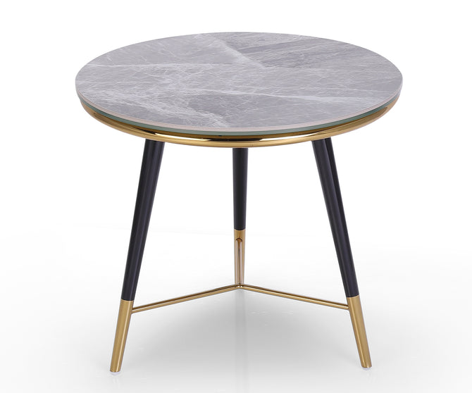 Pegasus marble effect top side table with stainless steel legs