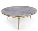 Platus marble effect top coffee table with stainless steel legs
