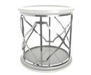 Queenie white side table with stainless steel frame