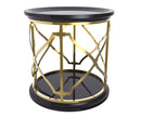Queenie black side table with stainless steel frame