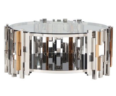 Rara clear glass coffee table with stainless steel frame