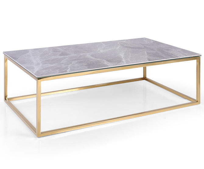 Tyche marble effect top coffee table with stainless steel base
