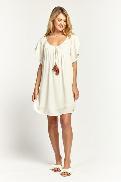 Ruffle Sleeve Shift Dress in Ivory