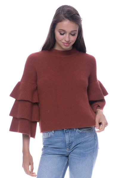 Cinnamon 3 Tiered Bell Sleeve Sweater