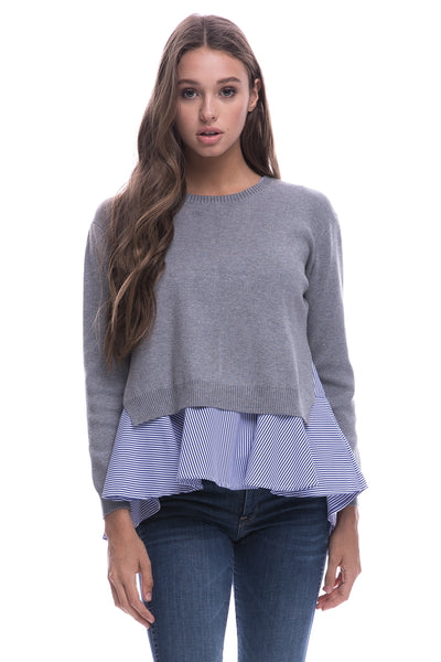 XXXGray Sweater With Blue and White Oxford